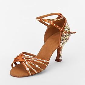 Women's Dance Shoes Latin Shoes / Ballroom Shoes / Line Dance Sandal Rhinestone Flared Heel Non Customizable Brown / Suede / Satin / EU39