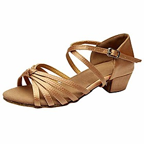 womens latin dance shoes for social low heel ballroom practice dancing sandals (5.5-9) by 2dxuixsh khaki