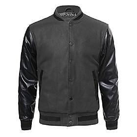 baseball bomber jacket with detachable hoodie charcoal black size m
