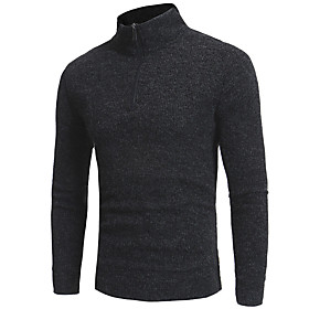 Men's Basic Knitted Solid Color Pullover Cotton Long Sleeve Sweater Cardigans Crew Neck Fall Black Dark Gray Navy Blue