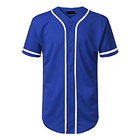 men's baseball jersey button down short sleeve shirts (l, royal/white-slv)