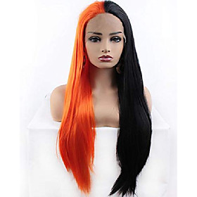 relas half black half orange lace front wigs, long straight synthetic glueless wig for women girls, halloween cosplay makeup or daily replacement hair 24inch
