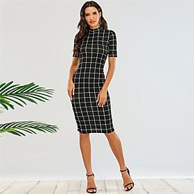 Women's Sheath Dress Knee Length Dress - Short Sleeve Print Summer Sexy Party Slim 2020 Black XS S M L
