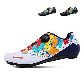 SANTIC Adults' Bike Shoes Road Bike Shoes Nylon Breathable Anti-Slip Cushioning Road Cycling White Black Men's Women's Cycling Shoes / Ventilation / Ventilatio