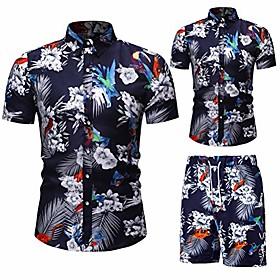 men's 2 piece flower tracksuit shirt casual hawaiian short sleeve shirts and pants suit