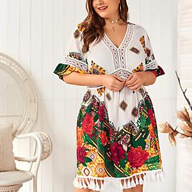 Women's A-Line Dress Knee Length Dress - Half Sleeve Floral Mesh Tassel Fringe Print Summer V Neck Plus Size Casual Slim 2020 White Army Green XL XXL 3XL 4XL