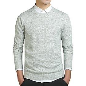 Men's Knitted Solid Color Pullover Cotton Long Sleeve Sweater Cardigans Crew Neck Fall Winter Black Blue Khaki