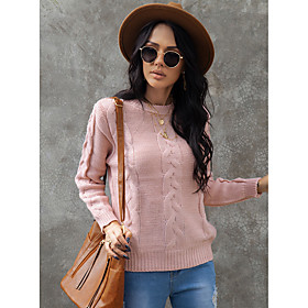 Women's Basic Solid Color Plain Pullover Long Sleeve Sweater Cardigans Crew Neck Round Neck Fall Winter Blushing Pink