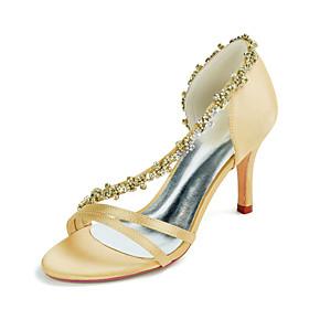 Women's Wedding Shoes Stiletto Heel Open Toe Sexy Wedding Party  Evening Rhinestone Solid Colored Satin White / Black / Purple