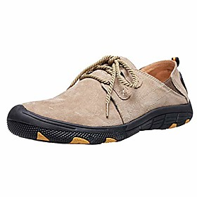 men's loafer shoes real leather elastic fold flat lace up sneaker casual sports outdoor cool khaki, size 8