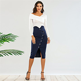 Women's Sheath Dress Knee Length Dress - Long Sleeve Solid Color Split Patchwork Fall Off Shoulder Sexy Slim 2020 Navy Blue XS S M L XL