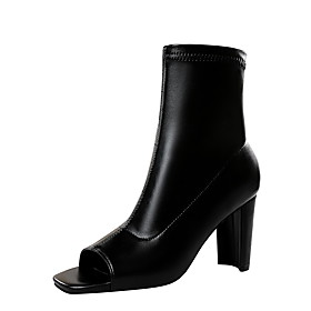 Women's Boots Chunky Heel Peep Toe Sexy Minimalism Party  Evening Solid Colored PU Mid-Calf Boots Black / Coffee