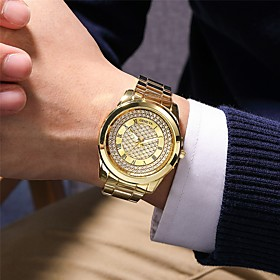 Men's Steel Band Watches Quartz Vintage Style Modern Style Classic Chronograph Analog Rose Gold Gold Silver / Titanium Alloy