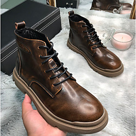 Men's Boots Daily Leather Booties / Ankle Boots Black / Brown Fall