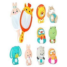 baby bath toys set with 8pcs soft cute ocean animals bath squirter and 2pcs fishing net water toys bathtub bathroom pool sea animal toys for kids (girafferabbi Package Dimensions:26.516.88.4; Listing Date:09/16/2020