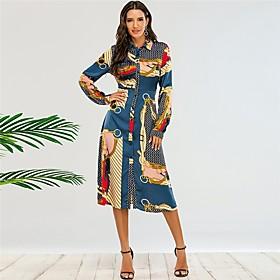 Women's A-Line Dress Midi Dress - Long Sleeve Print Print Fall Shirt Collar Sexy 2020 Blue XS S M L