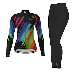 21Grams Women's Long Sleeve Cycling Jersey with Tights Winter Polyester Black Novelty Bike Jersey Tights Clothing Suit Breathable Quick Dry Moisture Wicking Ba