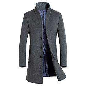 men's trench coat wool blend slim fit long jacket business pea overcoat grey l style 1
