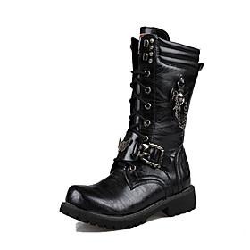 Men's Boots British Daily PU Warm Mid-Calf Boots Black Fall / Winter