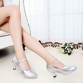 Women's Latin Shoes Heel Thick Heel PU Leather Dark Red / Black / Gold