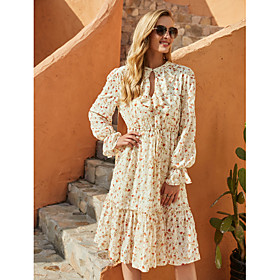 Women's A-Line Dress Knee Length Dress - Long Sleeve Floral Fall Winter Casual Elegant Going out Flare Cuff Sleeve Chiffon 2020 Beige S M L XL