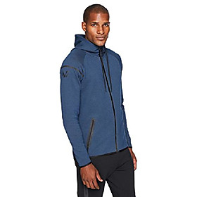 amazon brand - men's metro fleece full-zip athletic-fit hoodie, bolt blue heather, xx-large