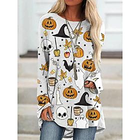 Women's Halloween T-shirt Graphic Prints Long Sleeve Print Round Neck Tops Loose Basic Halloween Basic Top White