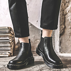 Men's Boots Casual Daily Cowhide Booties / Ankle Boots Black Fall