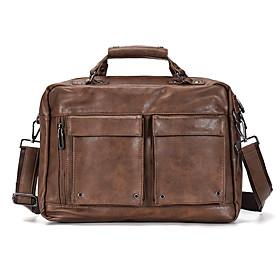 Men's Bags PU Leather Laptop Bag / Briefcase / Top Handle Bag Belt Zipper for Office  Career Black / Khaki