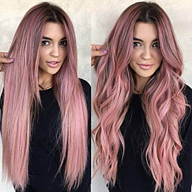 Synthetic Wig Body Wave Middle Part Wig Long Very Long Violet Pink Synthetic Hair 65 inch Women's Highlighted / Balayage Hair Dark Roots Middle Part Pink
