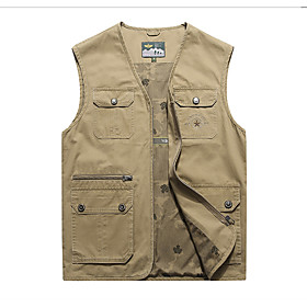 Men's Vest Regular Solid Colored Daily Basic Army Green Khaki Dusty Blue M L XL