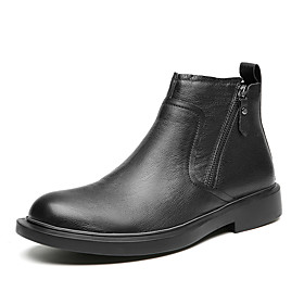 Men's Boots British Outdoor Walking Shoes Leather Handmade Booties / Ankle Boots Black Fall / Winter