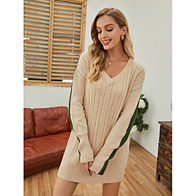 Women's Sweater Jumper Dress Short Mini Dress - Long Sleeve Color Block Knitted Fall Winter V Neck Casual Loose 2020 Beige S M L XL