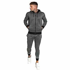 men's 2 piece jacket amp; pants athletic jogging sets hooded tracksuit for men grey