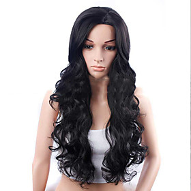 Synthetic Wig Body Wave Asymmetrical Wig Long Black Synthetic Hair 26 inch Women's Fashionable Design For European Black