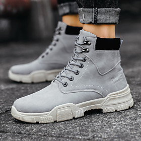 Men's Boots Casual / British Athletic Daily Running Shoes / Walking Shoes PU Breathable Waterproof Shock Absorbing Black / Khaki / Gray Fall / Winter