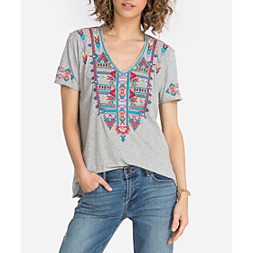 Women's Blouse Shirt Graphic Prints Embroidered V Neck Tops Loose Basic Boho Basic Top Red Gray