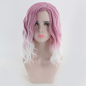 Synthetic Wig Curly Water Wave Middle Part Wig Medium Length Violet Pink Synthetic Hair Women's Cosplay Cool Ombre Hair Pink