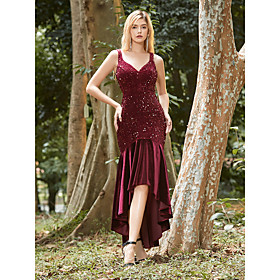 Women's Trumpet / Mermaid Dress Midi Dress - Sleeveless Solid Color Sequins Fall Winter V Neck Formal Sexy Party Velvet Skinny 2020 Red S M L XL XXL 3XL 4XL