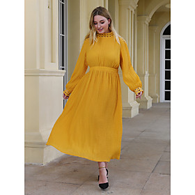 Women's Sheath Dress Maxi long Dress - Long Sleeve Solid Color Patchwork Fall Plus Size Casual Elegant Loose 2020 Yellow XL XXL 3XL 4XL
