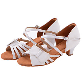 Women's Latin Shoes Heel Thick Heel Satin White