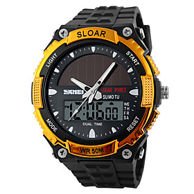 men's solar powered casual quartz wrist watch analog digital multifunctional black sports watch litbwat