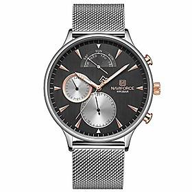 men's watch mesh band,naviforce watches for men fashion minimalist sports waterproof stainless steel wristwatch calendar date window analog quartz watches