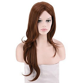 Synthetic Wig Curly kinky Straight Middle Part Wig Long Dark Brown Black Synthetic Hair Women's Fashionable Design Party Comfortable Black Dark Brown