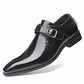 men's monk strap shoes, brush-off leather slip ons, loafer with single buckle, black