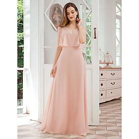 Women's Chiffon Dress Maxi long Dress - Short Sleeve Solid Color Spring Summer V Neck Elegant Party Beach Chiffon Loose 2020 Blushing Pink S M L XL XXL 3XL 4XL