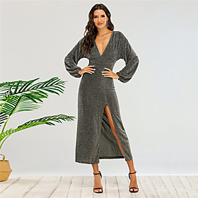 Women's Sheath Dress Midi Dress - Long Sleeve Solid Color Split Fall V Neck Sexy Party Slim 2020 Gray XS S M L
