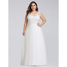 Women's A-Line Dress Maxi long Dress - Sleeveless Solid Color Lace Zipper Spring Summer V Neck Plus Size Formal Elegant Party Beach Loose 2020 White 4XL 5XL 6X