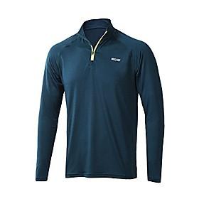 men's 1/4 zip sports active shirt long sleeves blue size xx-large