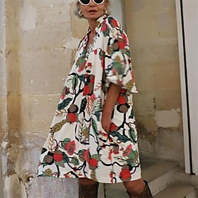 Women's A-Line Dress Knee Length Dress - Half Sleeve Print Print Summer Fall V Neck Plus Size Work Elegant Puff Sleeve Loose 2020 White S M L XL XXL